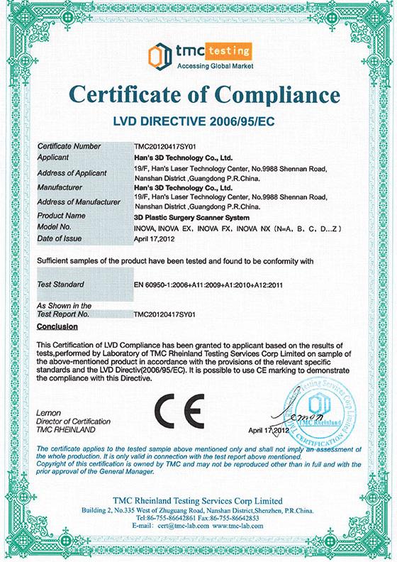 3D扫描仪CE-LVD认证